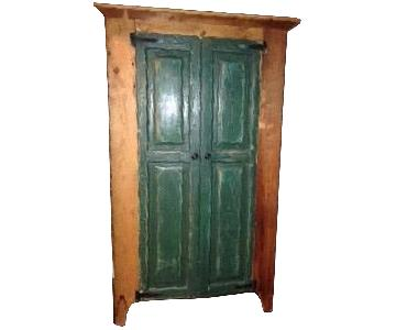 Shabby-Chic Distressed Wooden Armoire