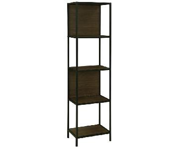 Four Shelf Bookcase in Dark Walnut & Black Metal Finish