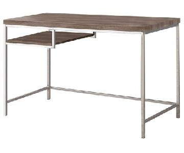 Contemporary Style Desk w/ Open Shelf Finished In Weathered