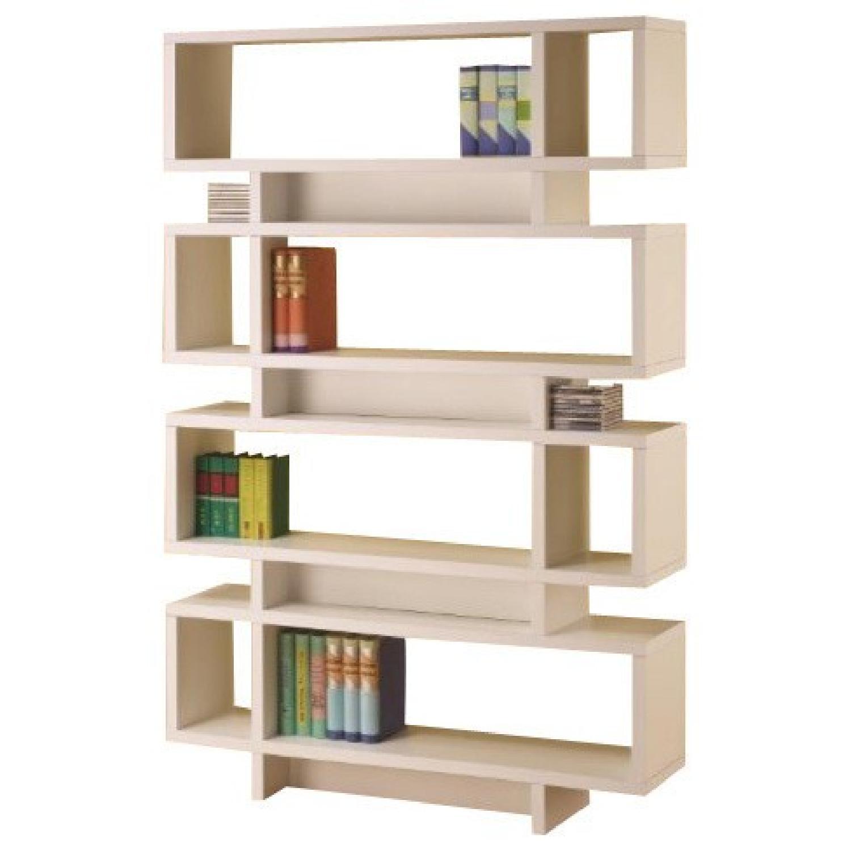 Contemporary White Finish Open Bookcase