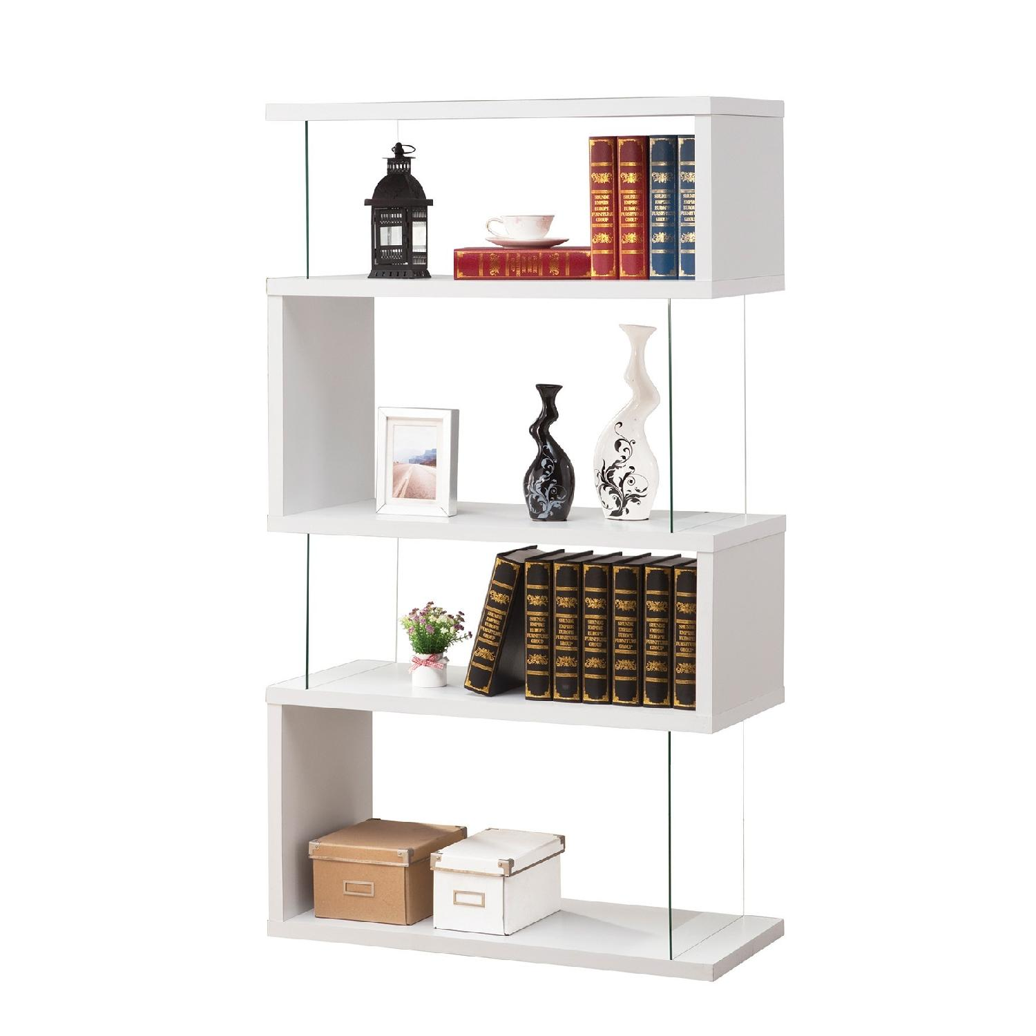 White Asymmetrical Bookshelf w/ Snaking Design & Partial Gla
