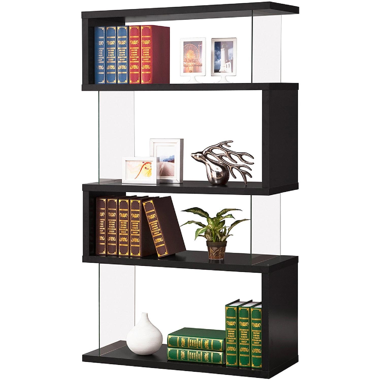 Black Asymmetrical Bookshelf w/ Snaking Design