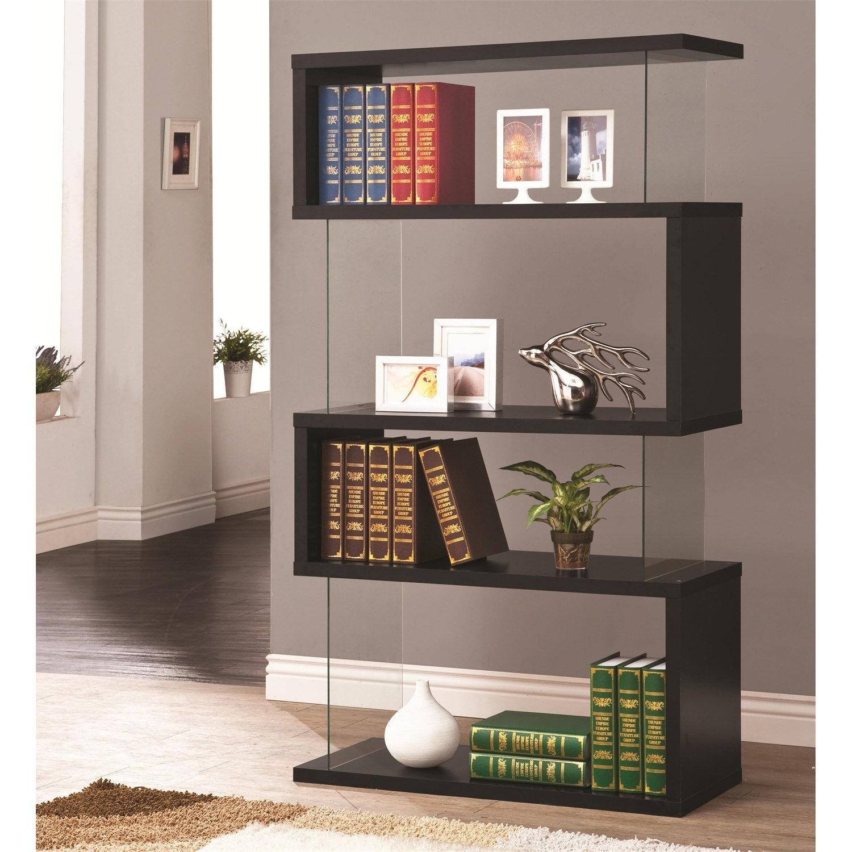 Black Asymmetrical Bookshelf w/ Snaking Design-0