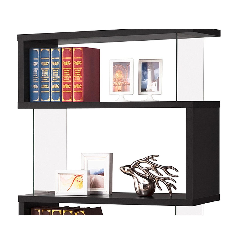 Black Asymmetrical Bookshelf w/ Snaking Design-1