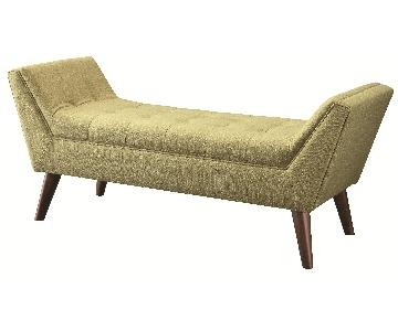 Retro Style Bench w/ Cushioned Padded Seats in Green Linen Fabric
