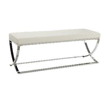 Contemporary Bench w/ Padded White Leatherette Cushions & Ch