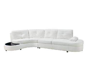Contemporary Sectional Sofa in White Bonded Leather Match w/ Built-In End Table