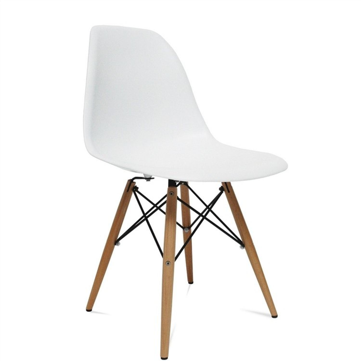 Classic Retro Style White Dining Chairs w/ Wood Legs - image-0