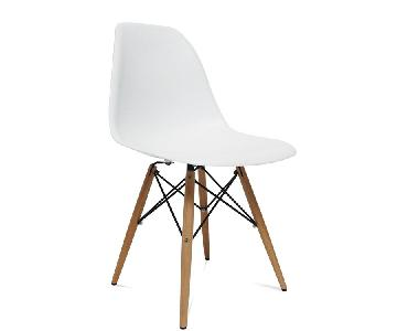 Classic Retro Style White Dining Chairs w/ Wood Legs