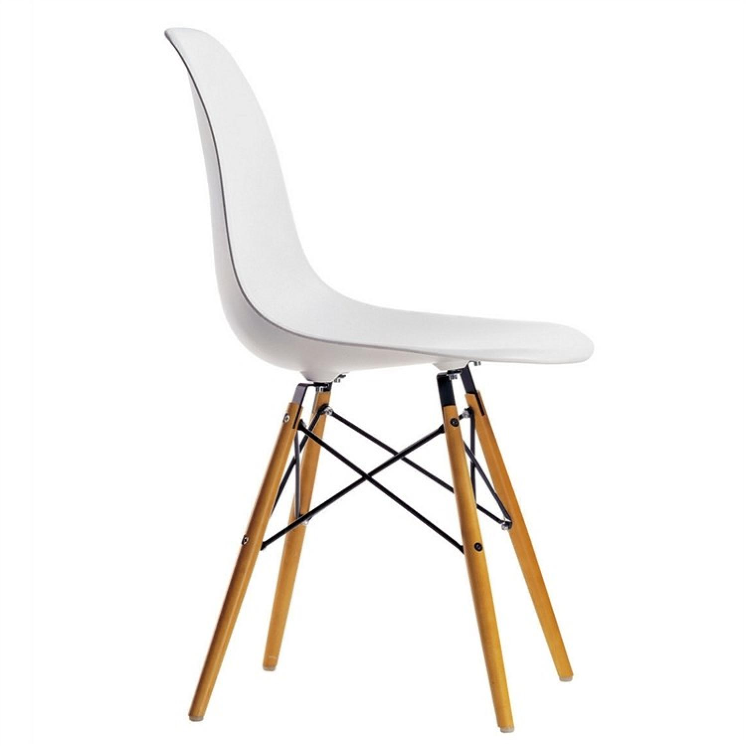 Classic Retro Style White Dining Chairs w/ Wood Legs - image-1