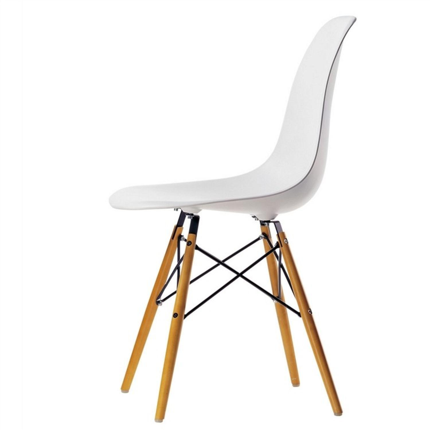 Classic Retro Style White Dining Chairs w/ Wood Legs - image-2