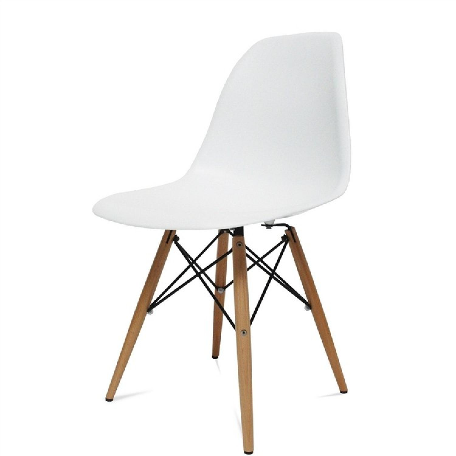 Classic Retro Style White Dining Chairs w/ Wood Legs - image-3