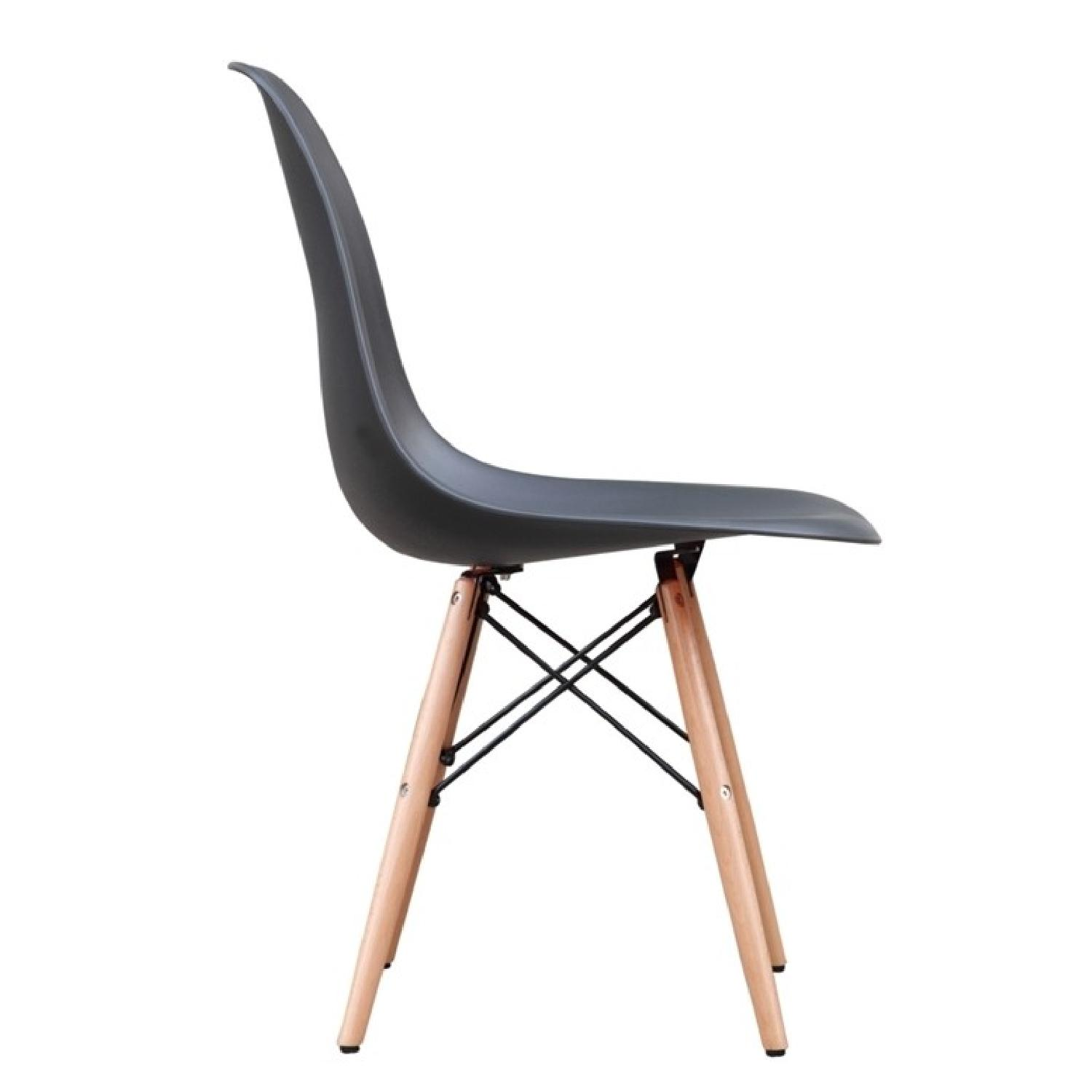 ... Classic Retro Style Black Dining Chairs W/ Wood Legs 2