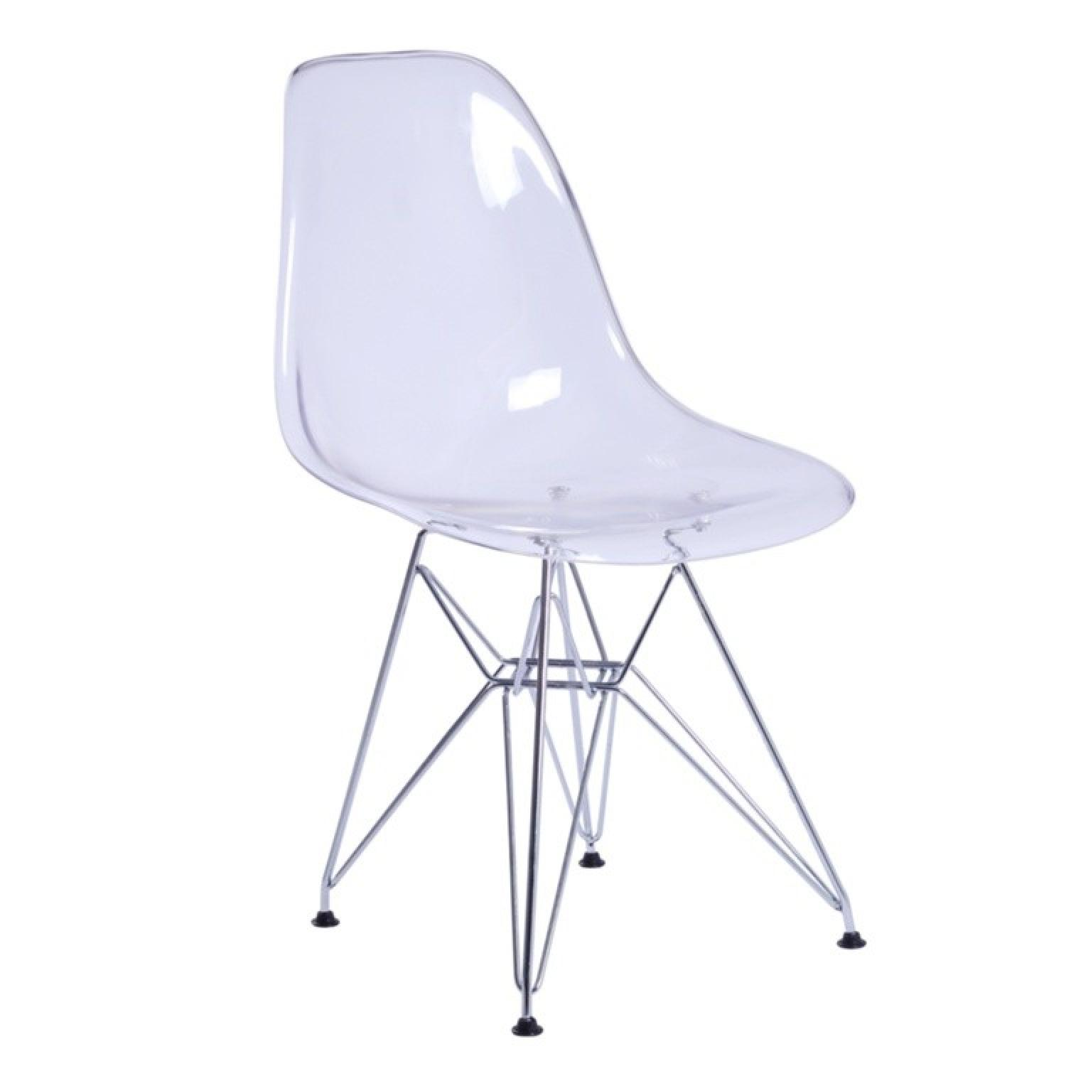 Retro Style Transparent Acrylic Chair w/ Metal Wire Legs