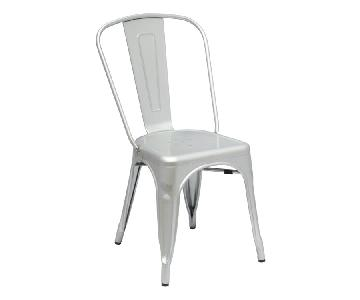 Classic Style Stackable Indoor/Outdoor Steel Chair In Silver Finish