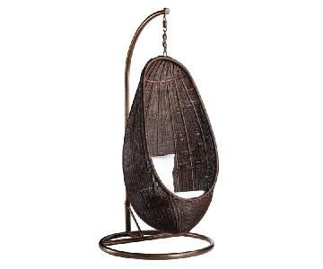 Indoor/Outdoor Hanging Rattan Chair in Chocolate w/ White Cushions & Aluminum Frame
