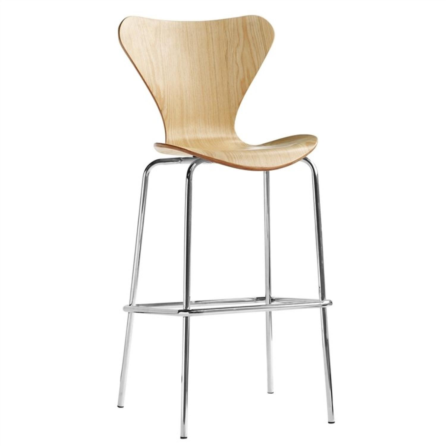 Modern Plywood Bar Stool in Natural Finish w/ Metal Legs
