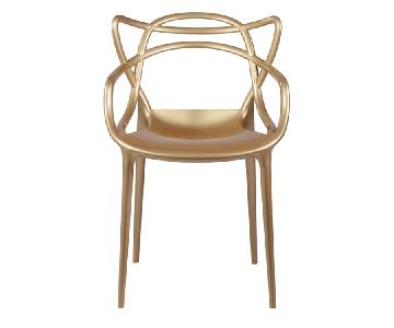 Modern Indoor/Outdoor Stackable Dining Chair in Gold ABS