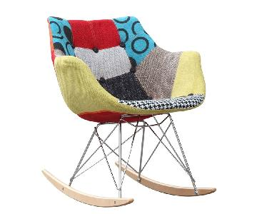 Rocking Chair w/ Colorful Fabric Print in ABS Frame Steel Legs & Ash Wood Runners