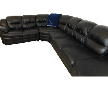 Nicoletti Black Italian Leather 3-Piece Sectional Sofa