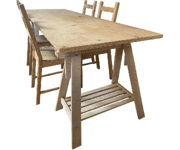 Ikea Trestle Base Dining Table w/ 4 Chairs