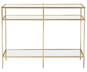 West Elm Terrace Console Table in Brass & Glass