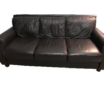 Raymour & Flanigan Brown Leather 3 Seater Sofa