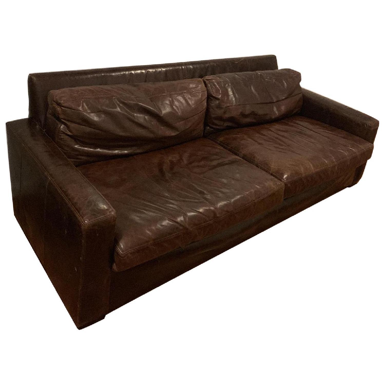 Restoration Hardware Petite Maxwell Leather Sofa