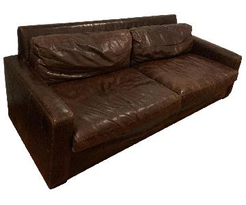 Restoration Hardware Petite Maxwell Leather Sofa