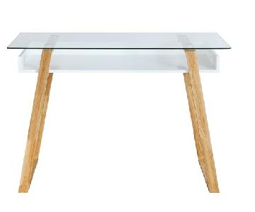 Poly and Bark Wooden Desk w/ Glass Top