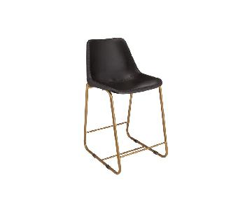 CB2 Roadhouse Black Leather Counter Stools