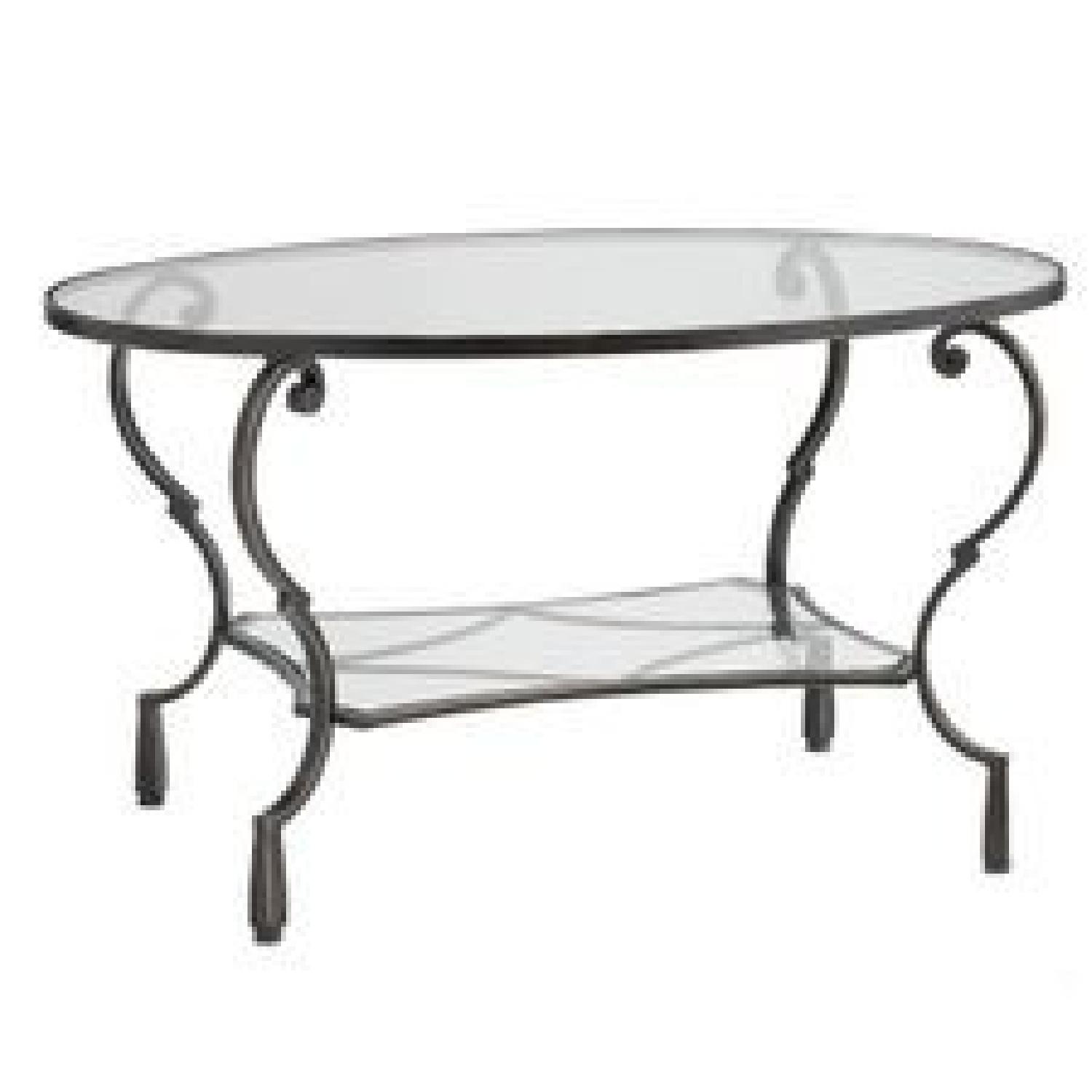 Pier 1 Chasca Glass Top Oval Coffee Table