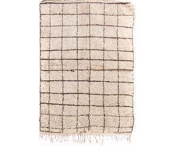 Vintage Mid-Century Moroccan Beige & Brown Wool Rug