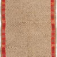 Vintage Mid-Century Berber Red & Beige Wool Runner