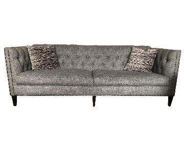 Raymour & Flanigan Grey Tufted Studded Sofa + 2 Side Chairs