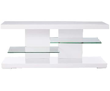 Coaster Glossy White TV Stand w/ Clear Glass Shelves
