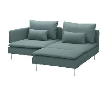 Ikea Soderhamn Turquoise 2 Piece Sectional Sofa w/ Chaise