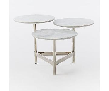 West Elm White Marble Metal Coffee Table