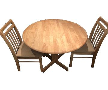 Drop-Leaf Dining Table w/ 2 Matching Chairs