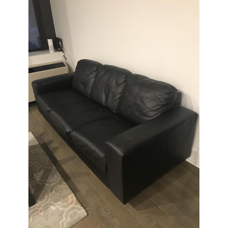 Pleasing Ikea Black Faux Leather Sofa Ottoman Aptdeco Ibusinesslaw Wood Chair Design Ideas Ibusinesslaworg