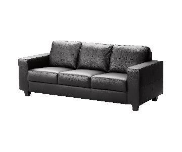 Ikea Black Faux Leather Sofa & Ottoman