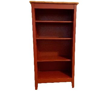LL Bean Red Painted Country Bookshelf w/ Pine Top