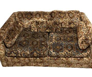 Vintage 1970 Mid Century Sofa in Rustic Brown