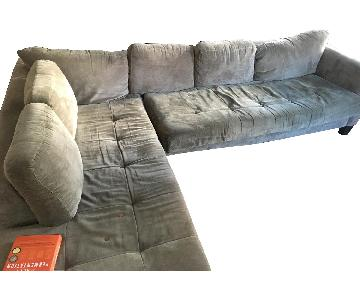 Macy's Gray L Shape 2-Piece Sectional Sofa