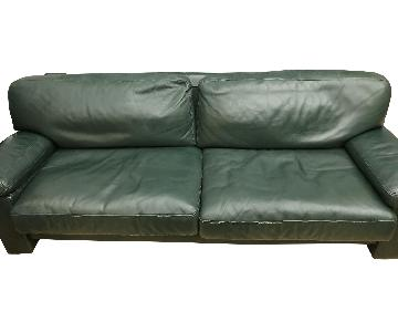 Vintage Green Leather Sofa