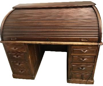 Antique Roll-Top Wood Writing Desk