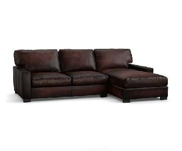 Pottery Barn Turner Square Arm Leather Chaise Sectional Sofa