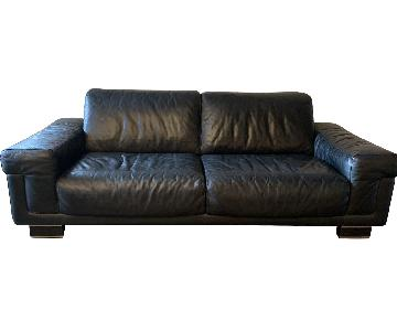 Natuzzi Italia Black Leather Sofa