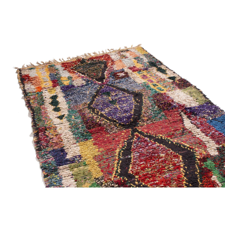 Vintage Mid-Century Moroccan Berber Multi-Color Wool Rug-0