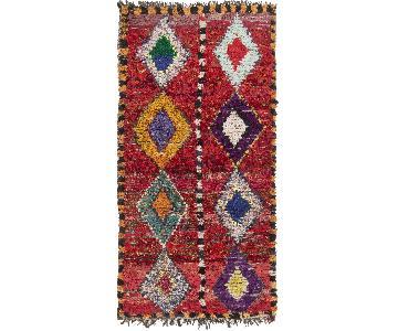 Vintage Mid-Century Moroccan Red & Multicolor Wool Rug